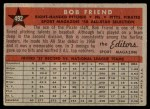 1958 Topps #492   -  Bob Friend All-Star Back Thumbnail