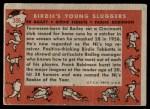 1958 Topps #386   -  Frank Robinson / Ed Bailey / Birdie Tebbets Birdie's Young Sluggers   Back Thumbnail