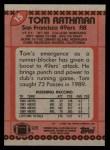 1990 Topps #15  Tom Rathman  Back Thumbnail