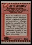 1990 Topps #129  Jim Lachey  Back Thumbnail