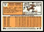 2012 Topps Heritage #348  Miguel Cabrera  Back Thumbnail