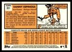 2012 Topps Heritage #351  Danny Espinosa  Back Thumbnail