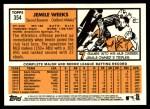 2012 Topps Heritage #354  Jemile Weeks  Back Thumbnail