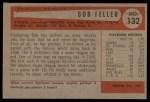 1954 Bowman #132  Bob Feller  Back Thumbnail