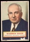 1956 Topps #2  Warren Giles  Front Thumbnail