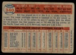 1957 Topps #340  Bill Wight  Back Thumbnail