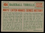 1959 Topps #464   -  Willie Mays Catch Makes Series History Back Thumbnail