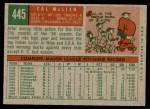 1959 Topps #445  Cal McLish  Back Thumbnail