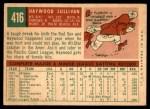 1959 Topps #416 CRL Haywood Sullivan  Back Thumbnail