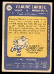1969 Topps #126  Claude Larose  Back Thumbnail