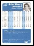 1984 Fleer #401  John Henry Johnson  Back Thumbnail
