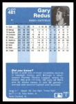 1984 Fleer #481  Gary Redus  Back Thumbnail