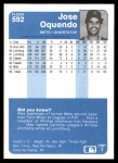 1984 Fleer #592  Jose Oquendo  Back Thumbnail