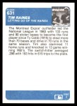 1984 Fleer #631   -  Tim Raines Letting Go Of The Raines Back Thumbnail
