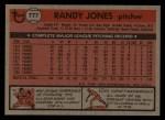 1981 Topps Traded #777 T Randy Jones  Back Thumbnail