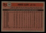 1981 Topps Traded #795 T Mike Lum  Back Thumbnail