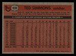1981 Topps Traded #830 T Ted Simmons  Back Thumbnail