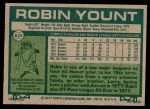 1977 Topps #635  Robin Yount  Back Thumbnail