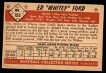 1953 Bowman #153  Whitey Ford  Back Thumbnail