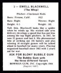 1948 Bowman REPRINT #2  Ewell Blackwell  Back Thumbnail