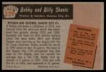 1955 Bowman #139  Bob Shantz / Billy Shantz  Back Thumbnail