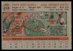 1956 Topps #218  Joe Nuxhall  Back Thumbnail