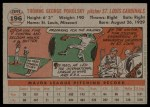 1956 Topps #196  Tom Poholsky  Back Thumbnail