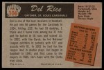 1955 Bowman #106  Del Rice  Back Thumbnail