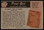 1955 Bowman #125  Paul Giel  Back Thumbnail