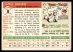 1955 Topps #5  Jim Gilliam  Back Thumbnail