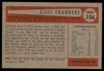 1954 Bowman #126  Cliff Chambers  Back Thumbnail