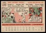 1956 Topps #143 WHT Jimmy Piersall  Back Thumbnail