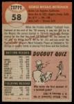 1953 Topps #58  George Metkovich  Back Thumbnail