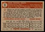 1952 Topps #25  Johnny Groth  Back Thumbnail