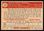 1952 Topps #162 CRM Del Crandall  Back Thumbnail