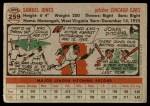 1956 Topps #259  Sam Jones  Back Thumbnail