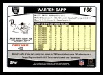 2006 Topps #166  Warren Sapp  Back Thumbnail