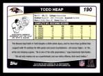 2006 Topps #190  Todd Heap  Back Thumbnail