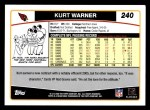 2006 Topps #240  Kurt Warner  Back Thumbnail
