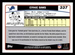 2006 Topps #337  Ernie Sims  Back Thumbnail