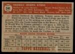 1952 Topps #241  Tommy Byrne  Back Thumbnail
