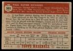 1952 Topps #305  Paul Richards  Back Thumbnail