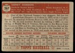 1952 Topps #267  Sid Gordon  Back Thumbnail