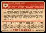 1952 Topps #181 CRM Bob Swift  Back Thumbnail