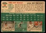 1954 Topps #36 WHT Hoyt Wilhelm  Back Thumbnail