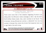 2012 Topps Update #10  Mark Trumbo  Back Thumbnail
