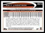 2012 Topps Update #13  Matt Lindstrom  Back Thumbnail