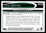 2012 Topps Update #34  A.J. Griffin  Back Thumbnail