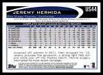 2012 Topps Update #44  Jeremy Hermida  Back Thumbnail