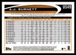 2012 Topps Update #49  A.J. Burnett  Back Thumbnail